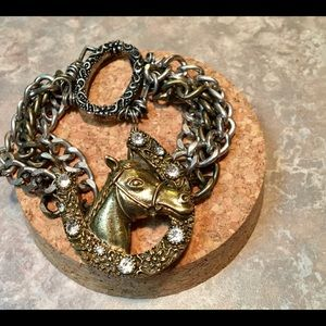 Jewelry - Vintage Tri-Colored Chunky Crystal Horse Bracelet